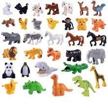 Tamanho grande Diy Acessórios Figuras Blocos de Construção Animal Panda Leão Compatível com Duploed Brinquedos para Crianças Presentes para Crianças