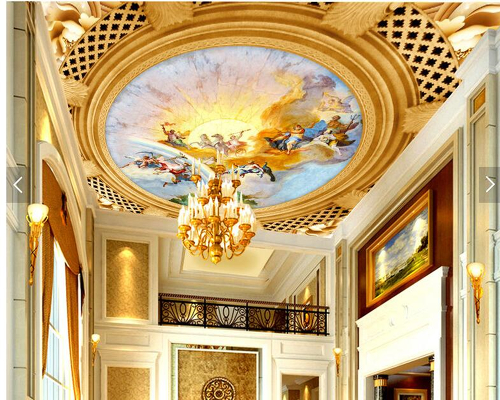 Custom ceiling wallpapers, European Greek god frescoes for living ...