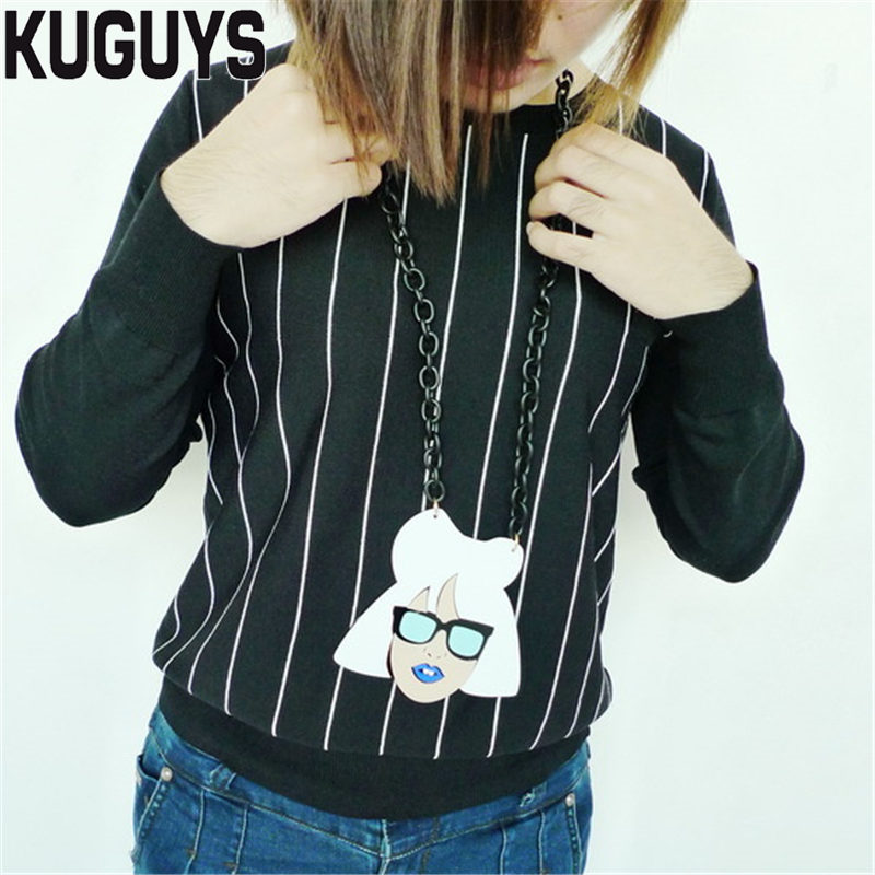 KUGUYS Jewelry Sets for Womens Acrylic Large LADY GAGA Earrings Girls Gift HipHop Sweater Chain Long Pendant Necklaces