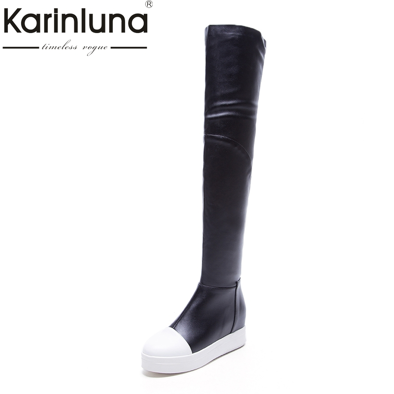 KARINLUNA 2018 hot sale patchwork platform flat heel women shoes woman spring autumn boots over the knee boots black