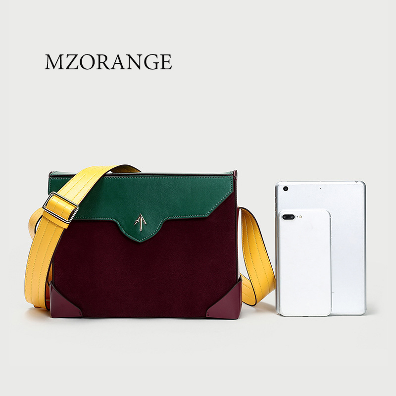 MZORANGE Genuine leather Suede stitching women handbags 2018 Vintage design Box Tote Crossbody Shoulder bags small Brand Arrow mzorange women genuine leather handbags 2018 small brand arrow shell bags purse cowhide fashion mini shoulder bag crossbody bags