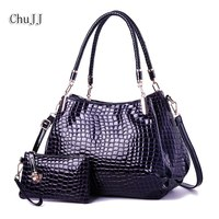 Chu JJ Fashion Alligator Women's Patent Leather Handbags With Wallet Big Size Shoulder CrossBody Bags Women Bucket Bags