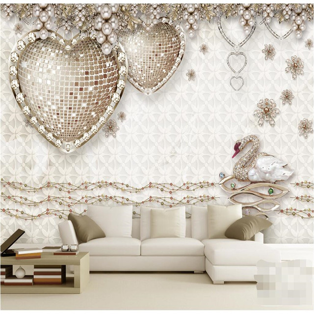 Personnalise Toute Taille Moderne Mur Papier Peint Amour Diamant