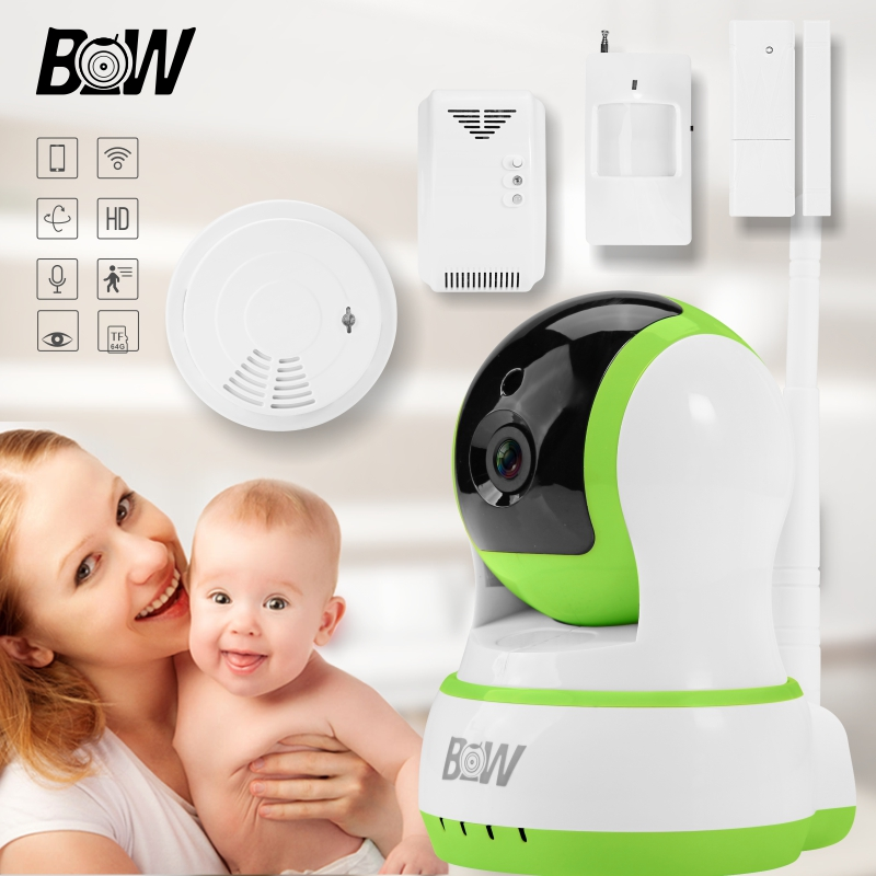 Security Camera IP WiFi + Door Sensor/Infrared Motion Sensor/Smoke Detector/Gas Detector Alarm Systems Wireless Camera BW13GR
