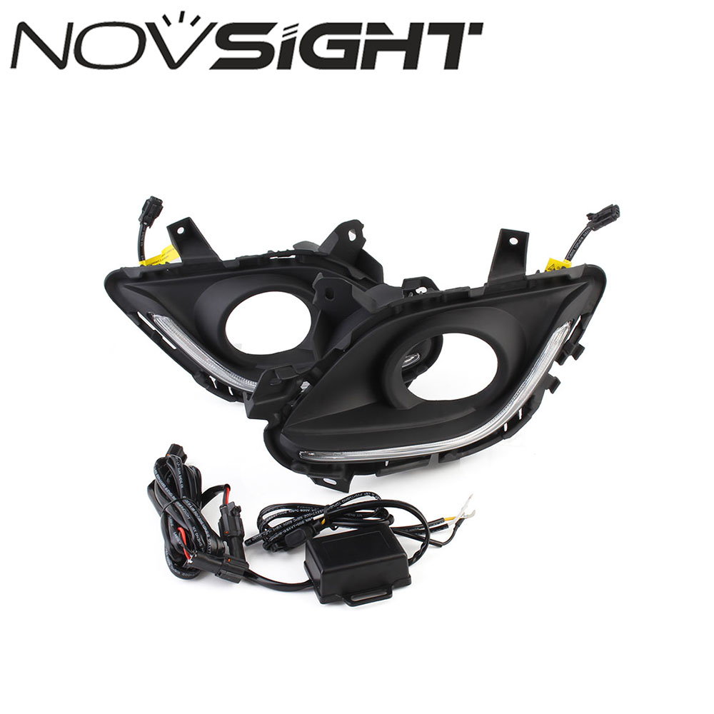 NOVSIGHT Auto Car Daytime Running Light Driving Fog Lamp White Day Light For Mazda6 Atenza 2013-2016 Free Shipping 630279 001 laptop motherboard for hp dv6 dv6t main board ddr3 with ati video card 100