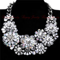 2015 New Za Brand Crystal Flower Necklaces Pendants Costume Chunky Choker Flower Silver Collar Necklace Statement Jewelry Women