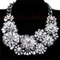 2015 Nueva Za Marca Flor de Cristal Collares Colgantes Vestuario Chunky Gargantilla Flor Joyería Declaración Collar collar de Plata de Las Mujeres