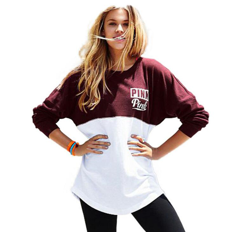 Casual PINK Letter Print Women Sweatshirts Red And White Patchwork Ladies Long Sleeve Leopard Pullover Tops Sudaderas Mujer