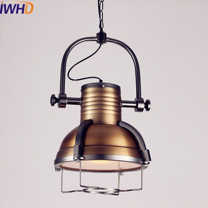 IWHD Retro Loft Style Industrial Pendant Lights Fixtures Home Lighting  American Lampen Vintage Light Hanging Lamp
