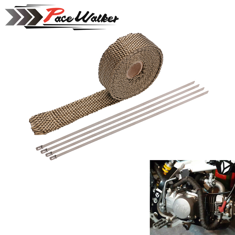 Exhaust-Wrap-Tape MOTORCYCLE Titanium Turbo-Manifold-Heat Thermal-Stainless-Ties CAR