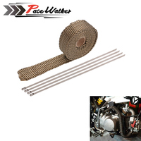 Titanium CAR MOTORCYCLE Incombustible Turbo MANIFOLD HEAT EXHAUST THERMAL WRAP TAPE STAINLESS TIES 1 5mm 25mm