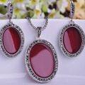 New Arrival Turkish Jewelry Sets Antique Silver Plated Oval Red Necklace Earrings Set Joyeria Collares Colar Feminino Pendientes