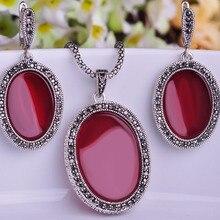 Nueva llegada turco sistemas de la joyería plateado plata antigua Oval Red Pendientes del collar Joyeria Collares Colar Feminino Pendientes