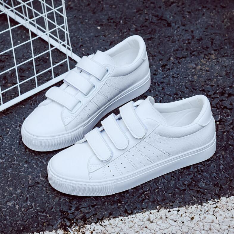 2018 Shoes Woman New Fashion Casual Platform Striped PU Leather Classic Cotton Women Casual Lace-up White Shoes Sneakers