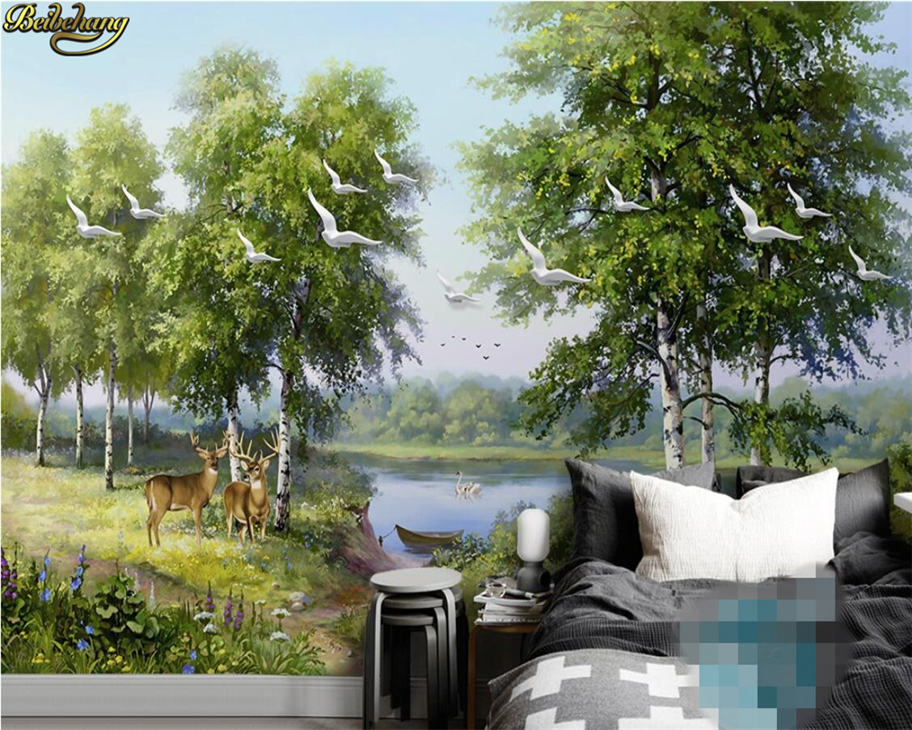 beibehang Custom photo wallpaper mural hand painted green forest