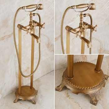 Antique Brass Floor Mounted Bathtub Shower Faucet Dual Handle standing Bathroom Faucet Brass Swivel Spout 150cm Shower Hose - DISCOUNT ITEM  40 OFF Home Improvement