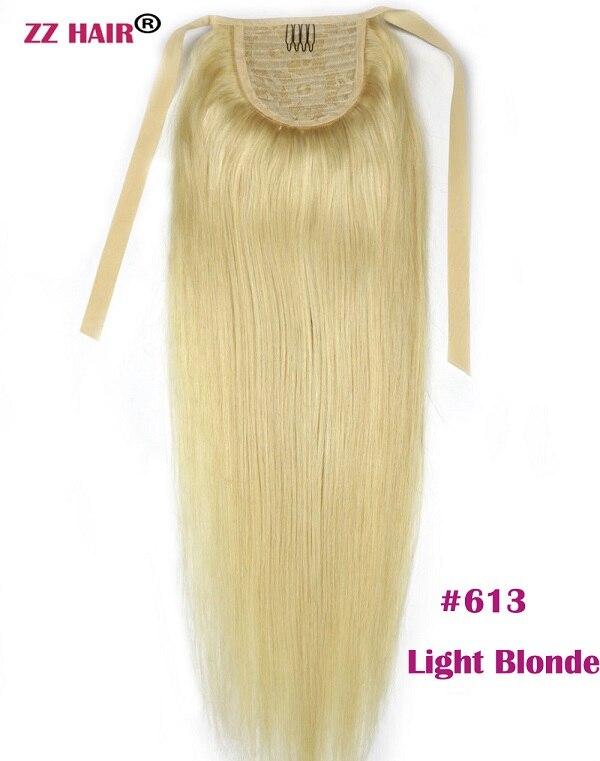 """ZZHAIR 80 г 1""""-24"""" машинное производство remy волосы лента Конский хвост на заколках человеческие волосы для наращивания конский хвост Натуральные Прямые Волосы - Цвет: #613"""
