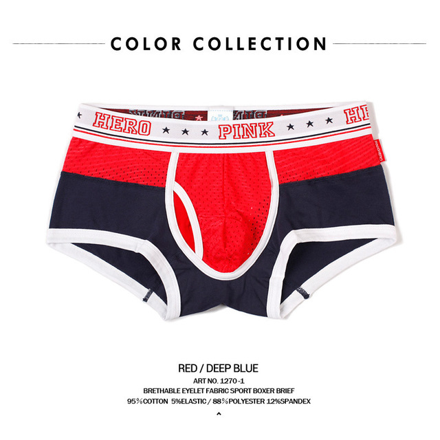 pink hero Ventilation Ice Silk boxers Screen Eye Cloth Spelling Color Motion Type Man Straight Angle Underpants underwear men