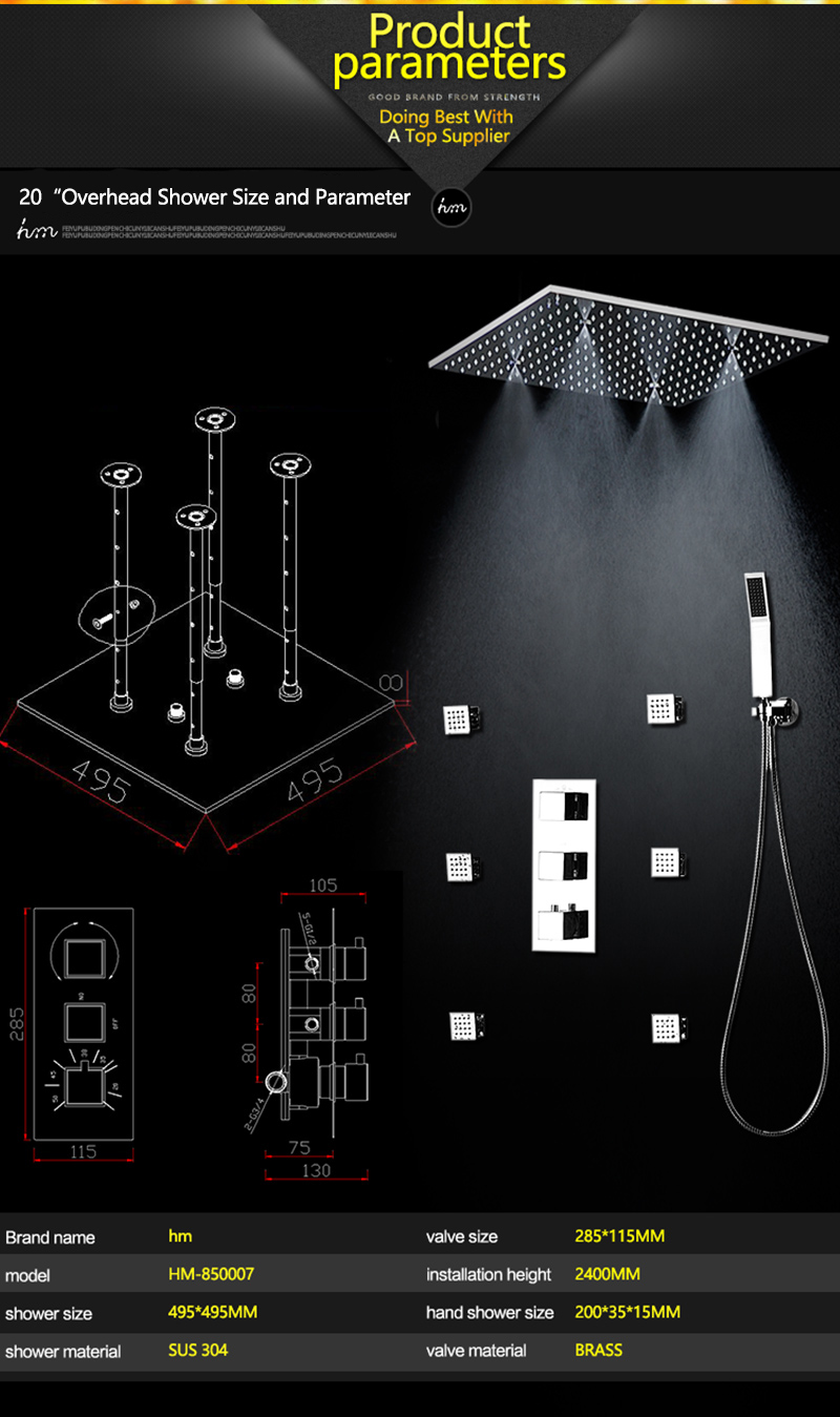 20 Shower Head Rainfall Mist SPA 4 Ways Concealed Thermostatic Shower Set 6 Massage Body Jets Panel Embedded Ceiling  2016 hm (15)