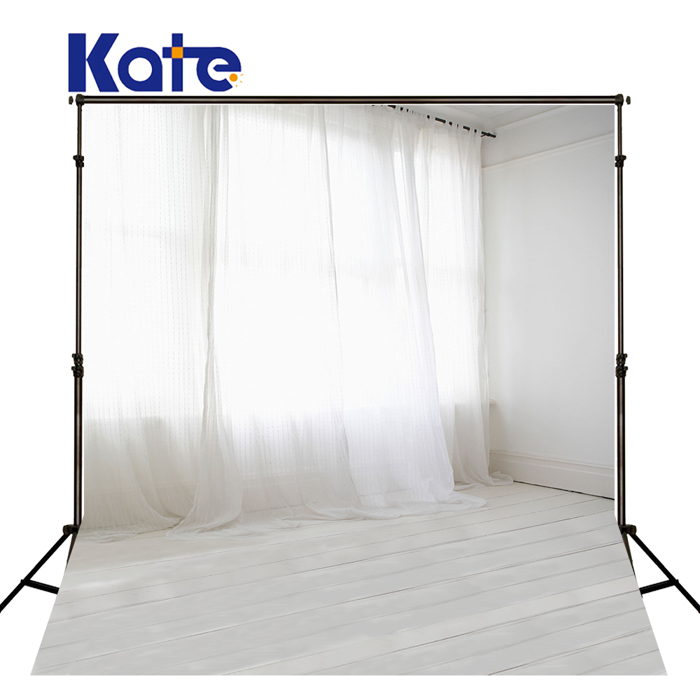 KATE Indoor Wedding Backdrop White Floor and Curtains Photography Backdrops Solid Background for Children Photo Shoot Studio kate dry land photography backdrops land photography background retro children custom backdrop props for newborn photo shoot