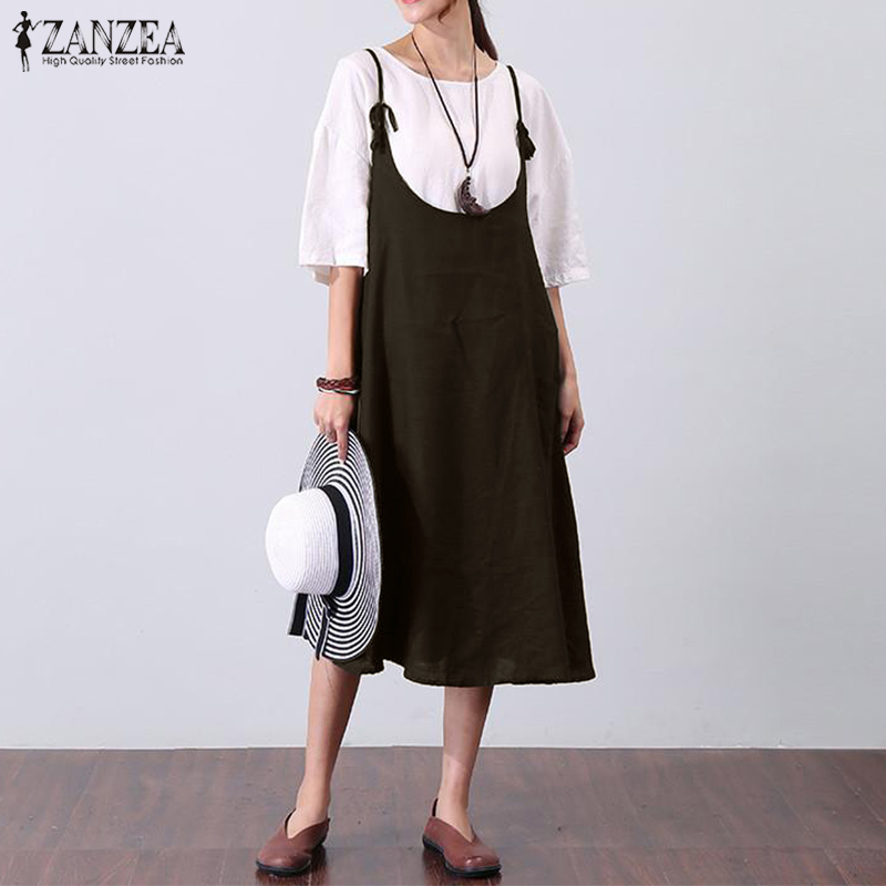 ZANZEA Women Summer Dress Pleated Vestidos Sleeveless Straps Swing Hem Solid A-line Dresses 2018 Sexy Plus Size Elegant Robe