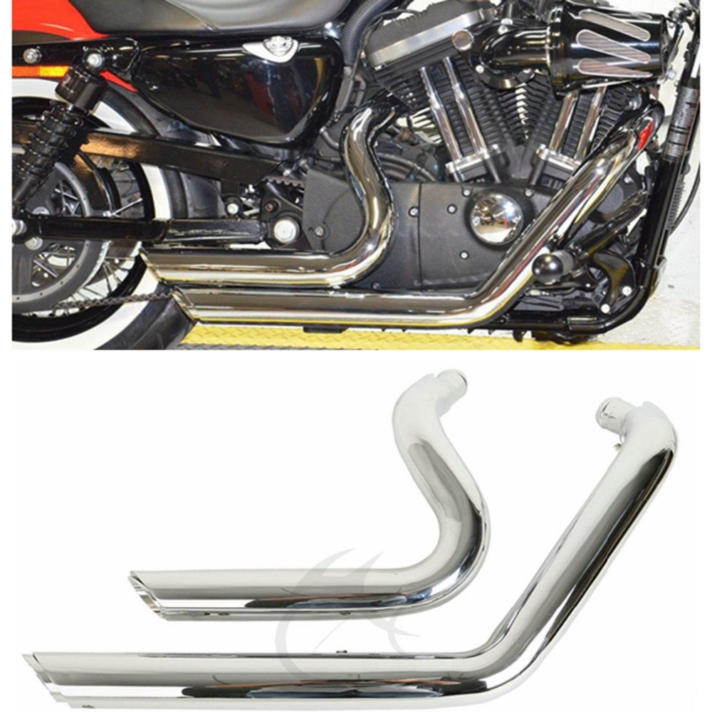 Staggered Shortshot Exhaust Pipes For Harley Sportster Iron 883 XL1200 2004-2013 Sportster XL 883 1200 motorcycle accessories black cnc cut air cleaner trim cover for harley iron 883 sportster xl883r xl1200