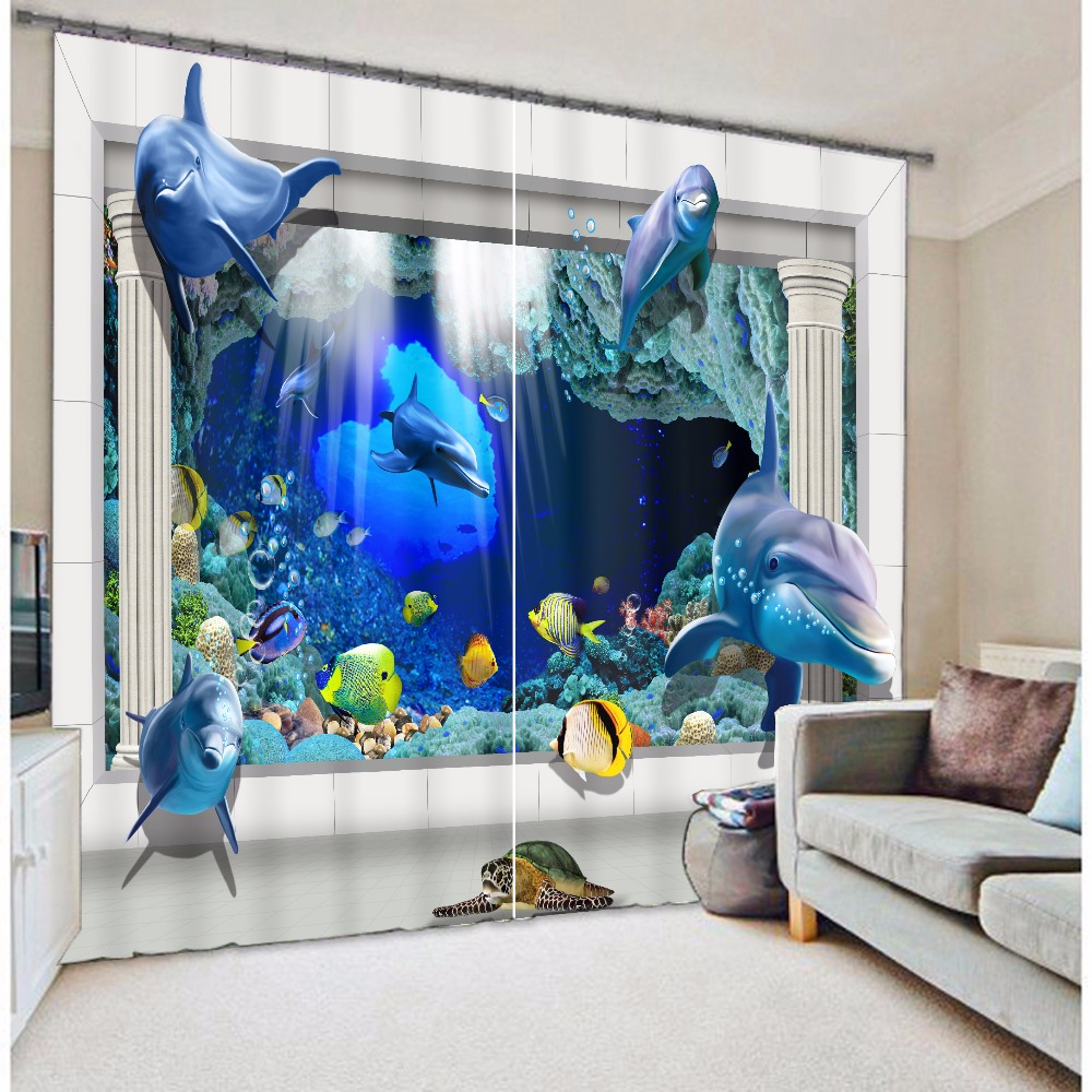 2016 cartoon dolphins shade blinds finished window blackout curtains ...