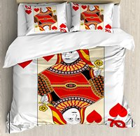 Королева пододеяльник набор, королева сердец игральная карта казино дизайн азартная игра покер блэкджек, 4 комплект постельного белья