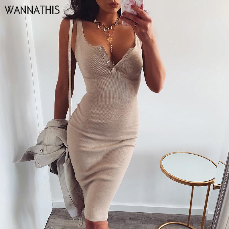 WannaThis Knee Length Dress Knitted Elastic Sleeveless Bodycon elegant Women 2019 Summer Sexy V Neck Button Party Slim Dresses