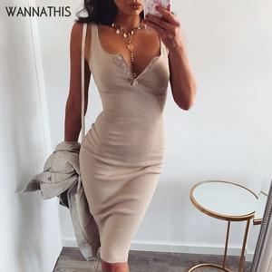Image 1 - WannaThis Knee Length Dress Knitted Elastic Sleeveless Bodycon elegant Women 2019 Summer Sexy V Neck Button Party Slim Dresses