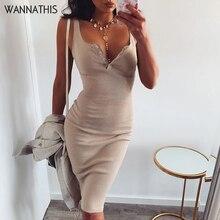 Wannathis膝丈ドレスニット弾性ノースリーブボディコンエレガント女性2019夏セクシーなvネックボタンパーティースリムドレス