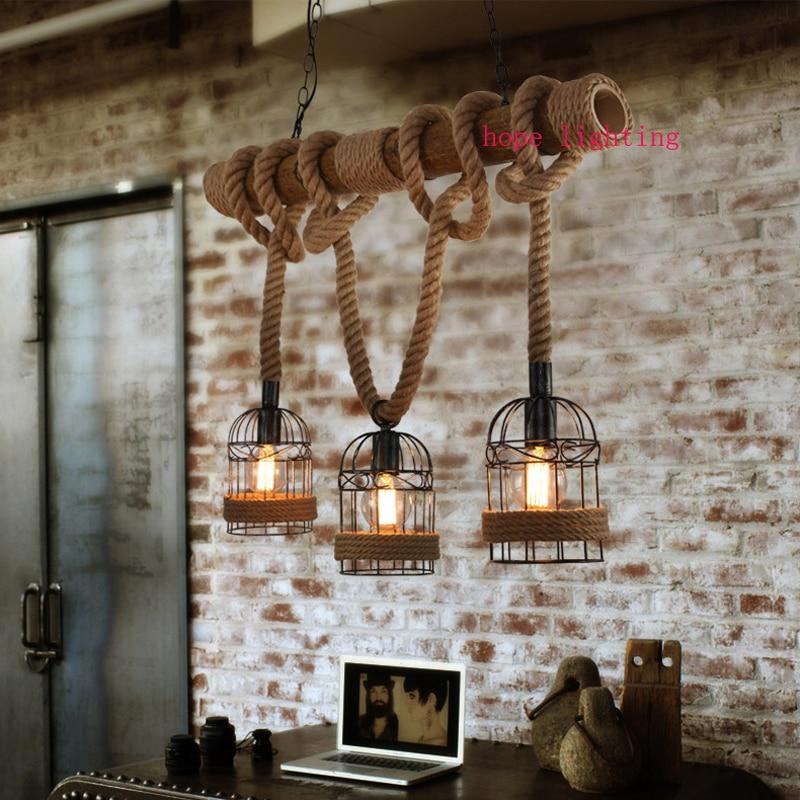 Три головы конопли бамбука Birdcage подвесные светильники творческий ретро гладить подвесной светильник сад кафетерий столовая светильник