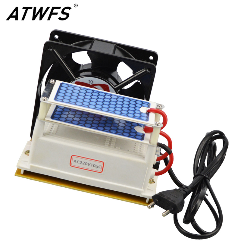 ATWFS High Quality Ozone Generator 10g 220v Ozone Sterilizer Ozonizer Air Purifier Double Ceramic Plate Fan Heat Dissipation dc 220v 10g h ozone generator double ceramic plate water air purifier sterilizer for home car ozone generator air sterilizer