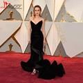 2017 Oscar Award Mermaid Evening Wear Celebrity Dress Brie Larson Black Velvet Long Prom Dresses Gowns Ruffle Formal Party Dress