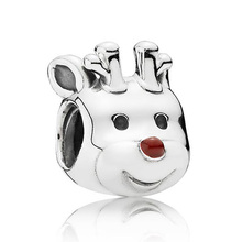 Authentic 925 Sterling Silver Animal Bead Charm Cute Red-nosed Reindeer Beads Fit Pandora Bracelet Bangle DIY Jewelry HKC3453