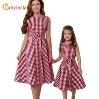 Babyinstar Mother Daughter Dresses 2017 New Fashion Family Plaid Dress With Bow Mommy And Me Clothes