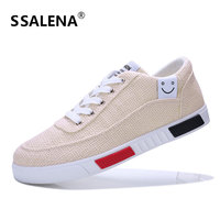 Men Flats Breathable   Vulcanize     Shoes   Fashion Classic Weave Canvas   Shoes   Comfortable Lace-Up Lightweight Flat   Shoes   AA12088