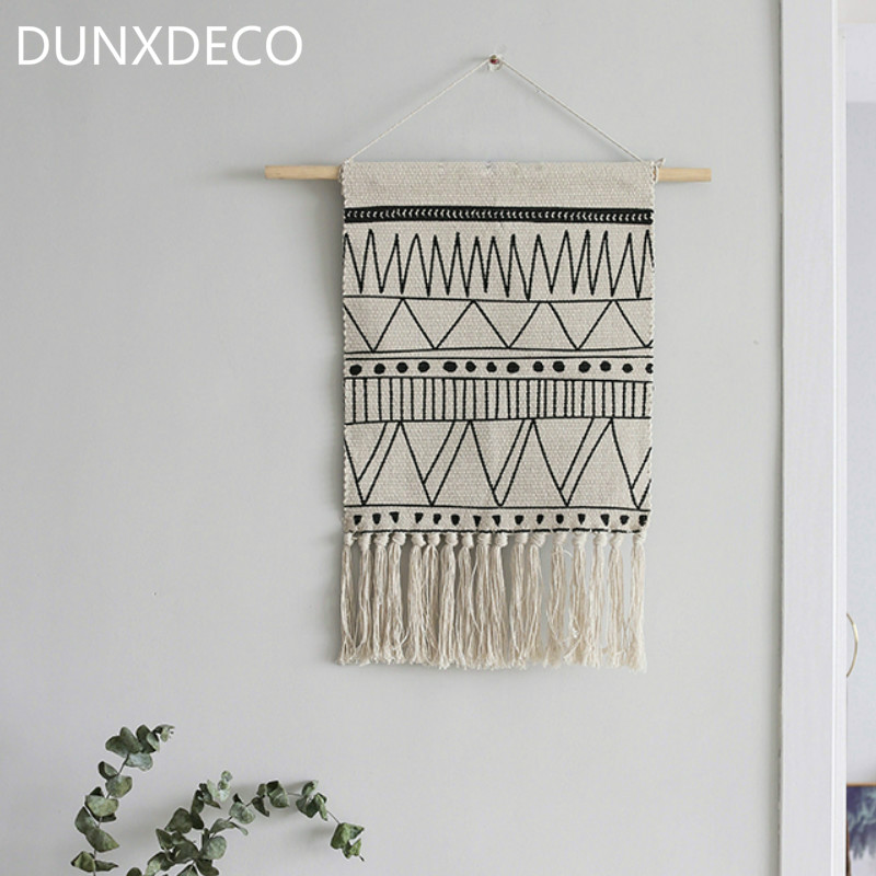 DUNXDECO Hanging Flag FNordic Geometric White Black Lines Tassels Modern Home Office Store Wall Decoration Photo Prop