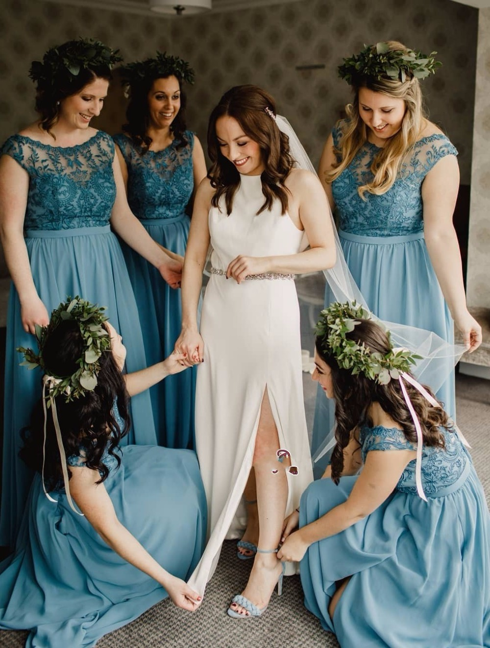 Modest A-line Bridesmaid Dress Long 2019 Lace High Neck Chiffon Wedding Party Prom Gown