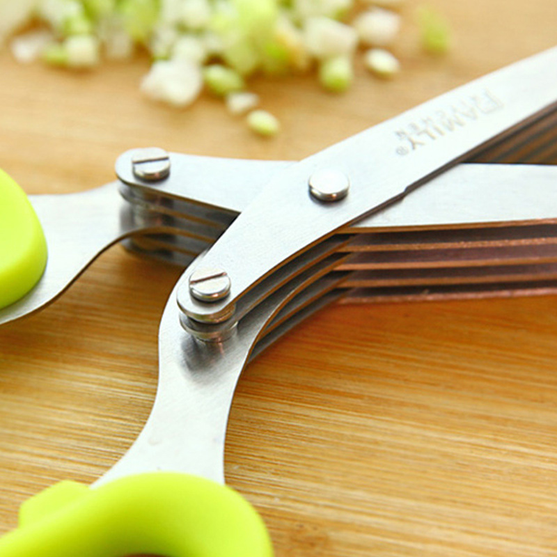 Multi-functional Stainless Steel Kitchen Knives 5 Layers Scissors Sushi Shredded Scallion Cut Herb Spices Scissors Cooking Tools