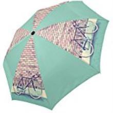 Paraguas plegable de viaje para lluvia y sol personalizado para bicicleta Vintage, paraguas plegable de alta calidad de aluminio 100% tela