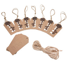 Party Favor Antique Key Bottle Openers with Kraft Paper Tags Set