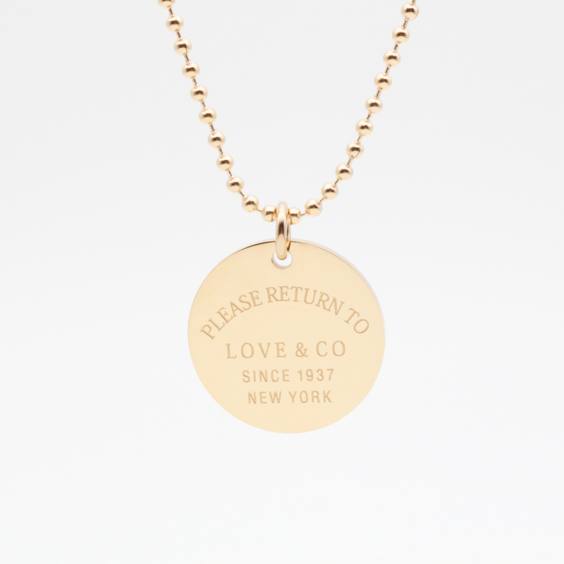 Woman Necklace Long Chain Round Pendant Stainless Steel Gold Rose Gold Color Necklaces For Christmas Gift Luxurious Tiff Jewelry