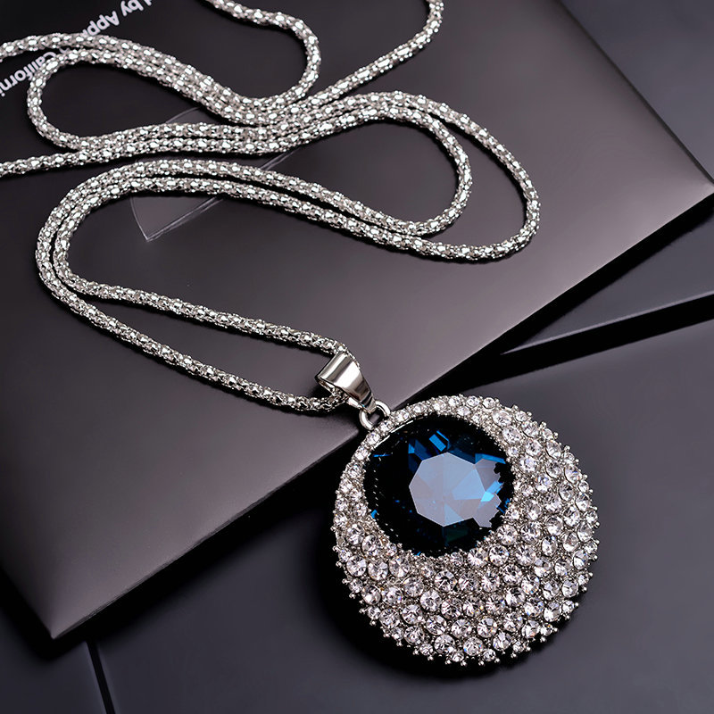 Vintage Blue Crystal Long Necklace Women Bijoux Fashion Jewelry Necklaces & Pendants Classic Gift Ethnic Style