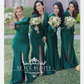 Sexy Front Split Dark Green Long Sleeves Bridesmaid Dresses Ruched Mermaid Deep V Neck Party Brial Gown Vestido Madrinha 2017