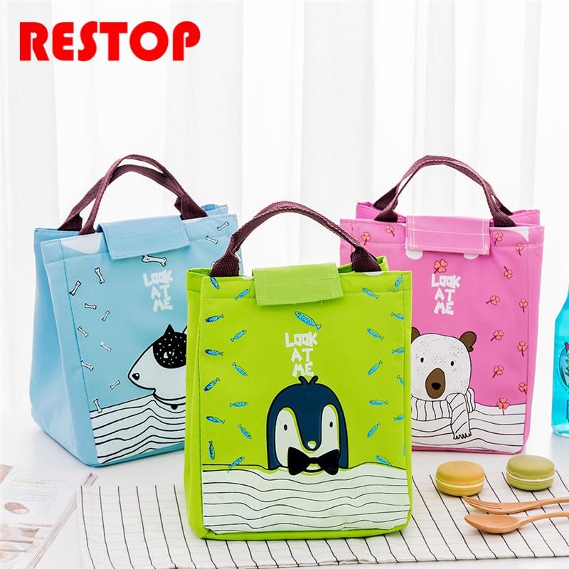 RESTOP Cartoon Animal Tote Thermal Bag Black Waterproof Oxford Beach Lunch Bag Food Picnic For Women kid Men Cooler Bag RES1041