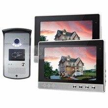 DIYSECUR 10 pulgadas Con Conexión de Cable Video de La Puerta Sistema de Intercomunicación Teléfono Timbre Seguridad Para El Hogar RFID Visión Nocturna de La Cámara 1 Cámara 2 monitores