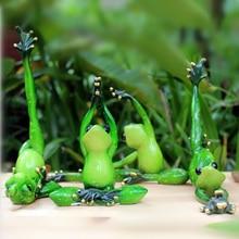 Kawaii йога фигурка лягушки для девочек мечта современного скульптура смолы дома куклы Смола Модель странно подарки ремесла животных украшения дома