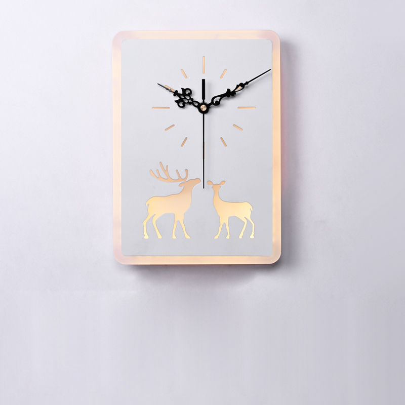 220/110V Bedroom Bedside LED Wall Lamp Deer Clock Sconce Light Hanging Lamp Light Fixtures Bed Design Modern Wall Art Home Decor forest floral deer print tapestry wall hanging art