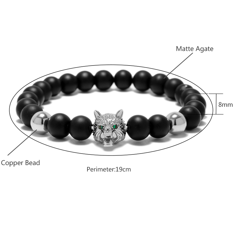 b83028afd1 New Green Gem Stone Eye Wolf Strand Bracelets For Men Black Matte Bead  Animal Head Mens Bracelet Jewelry Armband Heren-in Strand Bracelets from  Jewelry ...